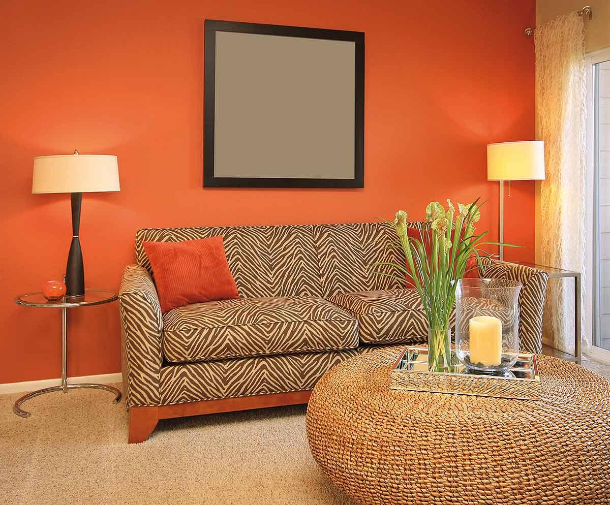 оранжевый колор в интерьере фото