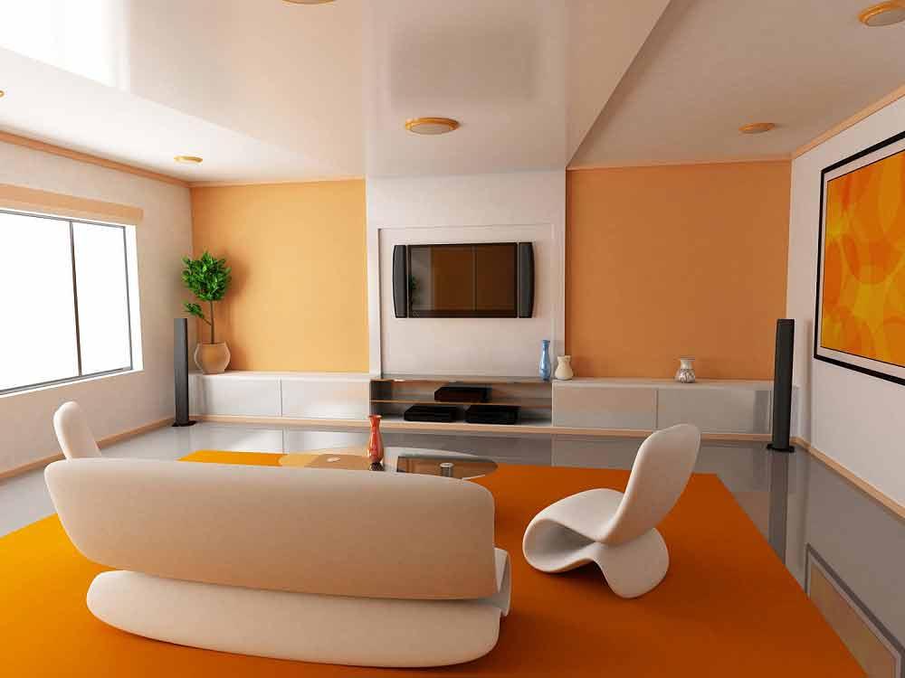оранжевый в интерьере фото