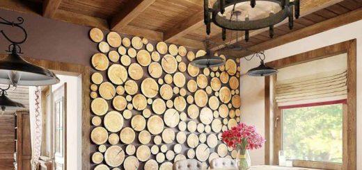 стена из спилов дерева своими руками