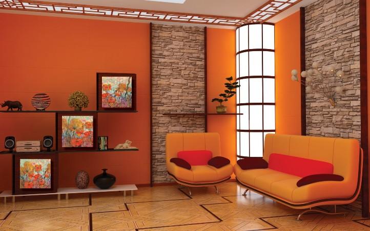 оранжевый цвет в интерьере фото