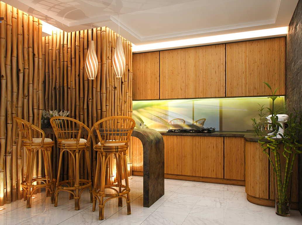 бамбуковая отделка интерьера