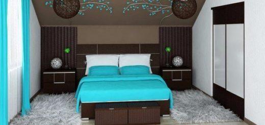 Бирбзовый цвет в интерьере спальной