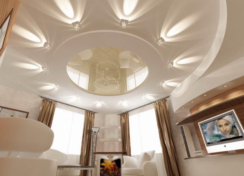 гипсокартонные потолки в интерьере