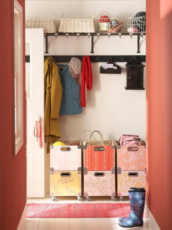 идеи для маленькой прихожей корзины