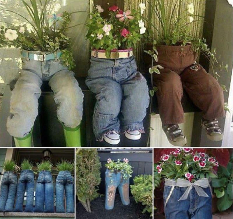 Горшки для дачных цветов из джинсов
