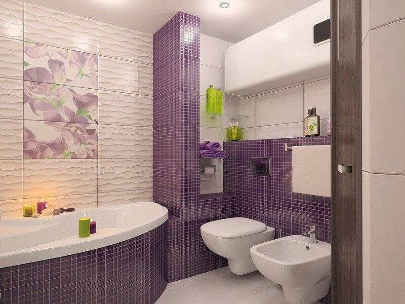 оригинальный дизайн маленькой ванной комнаты с туалетом