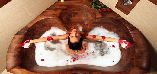 ванны из дерева в интерьере