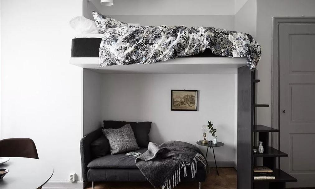 Интерьер маленькой спальни 9 кв м кровати чердаки
