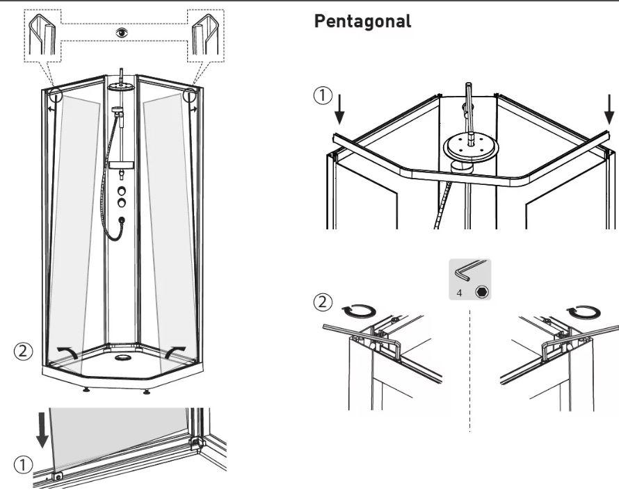 Схема установки душевой кабины