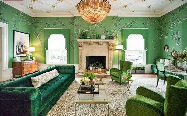 зеленый цвет в интерьере квартир